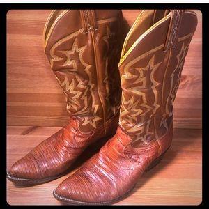 Cowboy Boots Size9d TonyLama8573 Brown Lizard Used
